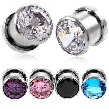 2pcs Steel Crystal Zircon Plug Tunnel Earring Plugs Expanders Gauges Screw Flesh Plugs And Tunnels Earring Body Jewelry