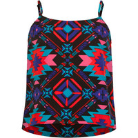 Full Tilt Tribal Print Girls Swing Tank Black Combo  In Sizes