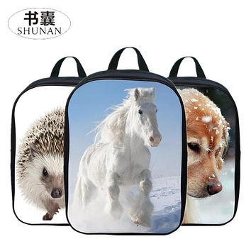 2017 Hot Sale Oxford 12 Inches Printing Animal Horse Kids Baby School Bags Boys Mini Backpacks for Children Schoolbag Small Girl