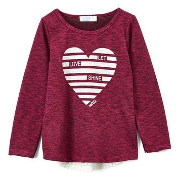 miniMOCA Raspberry 'Let Love Shine' Lace-Accent Long-Sleeve Top - Girls