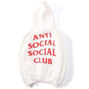 VONEYW7 anti social social club chest flag men and women sweater jacket white