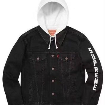 ca kuyou 2017 Supreme 17ss Joint clothing Hood Trucker Denim Jacket Hooded