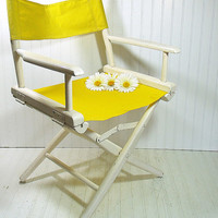 Vintage Wood & Canvas Director Chair - Chippy White Paint Folding Furniture Seat Lemon Yellow Fabric - Ready to Repurpose / Upcycle