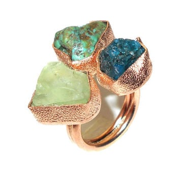Raw Turquoise Ring - Raw Gemstone Ring - Apatite Ring - Handmade Ring, Raw Fluorite Ring, Cocktial Ring, Raw Stone Ring - Natural Stone Ring