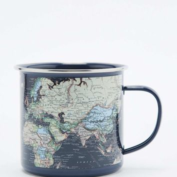World Map Enamel Mug - Urban Outfitters