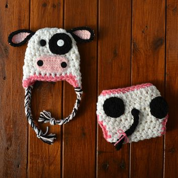 White Pink Black Newborn Cow Set Baby Photo Prop