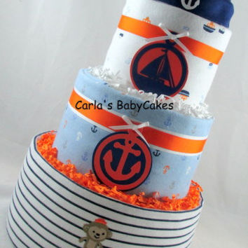 Nautical Diaper Cake,Boy Diaper Cake,Baby Diaper Cake,Mom to be Gift,New Baby Gift,Baby Shower Gift,Baby Shower Centerpiece,New Mom Gift