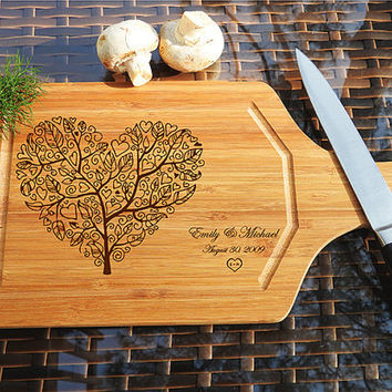 kikb511 Personalized Cutting Board Wood wooden wedding gift anniversary date heart tree