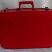 Vintage Retro Lipstick RED Sears Featherlite Suitcase Luggage Carry-on Train