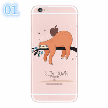 2017 For iPhone 4S 5S 6S 6Plus 7Plus 7 5C SE Cute Animals Soft Silicon Transparent Printed Phone Case-004-05-Girllove100