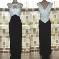 Vintage 80s 90s McClintock Black & White Lace Bodice Dress Sz 12 Cocktail Formal Gown Fishtail Train Mother of the Bride