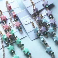 Kawaii Pastel Crystal Stars dangle chain earrings