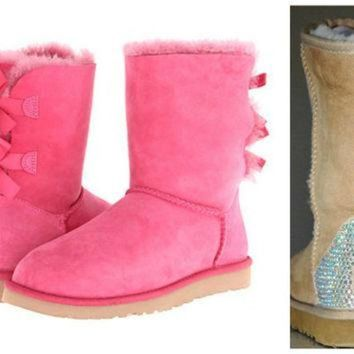 ICIK8X2 Swarovski Crystal Embellished Pink Bailey Bow Uggs - Winter / Holiday Bling UGGs 2013
