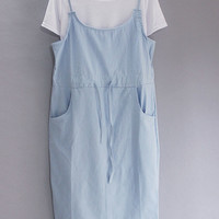 Light Blue Thin Strap Dress with Side Slit and Shirt