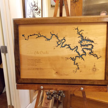 Wood Laser Cut Map of Lake of the Ozarks, MO Topographical Engraved Map