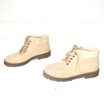 size 6.5 woven CHUKKA boots 80s 90s grunge vintage OATMEAL tone canvas LUG sole hiking desert booties