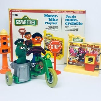 Vintage 1970's Motor Bike Playset, Sesame Street, Muppets, Knickerbocker, Antique Alchemy