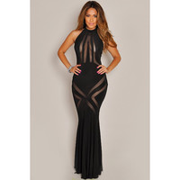 Black Mesh Pattern Evening Dress Sale LAVELIQ