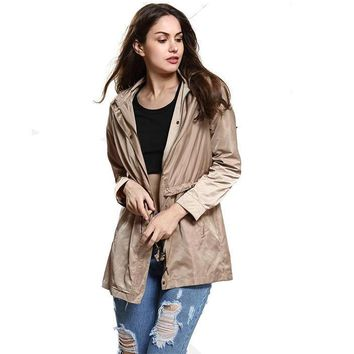 Casual Broadcloth Long Windbreaker Women Coats Spring Cotton Polyester Khaki Solid Zipper Slim Hooded Trench Coat