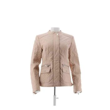 Isaac Mizrahi Live! Lamb Leather Mixed Quilted Barn Jacket