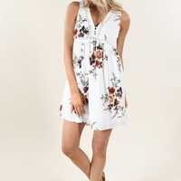 Find a Reason Floral Sleeveless Dress ~ Ivory