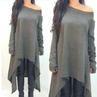 Grey Off Shoulder Long Sleeve Asymmetric Casual Loose Shirt Dress for Women