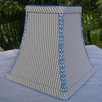 Striped Lamp Shade Gray White Square Bell Frame Blue Floral Handmade Trim Cotton Ticking Fabric Sky Blue Grosgrain Ribbon, Brass Clip Top