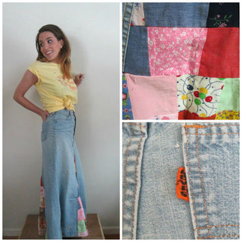 RARE Vintage 1970s Levis Maxi Skirt // Denim Patchwork Embroidery Boho Hippie Woodstock