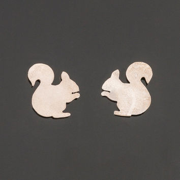 Sterling silver squirrel post earrings. Squirrel silhouette earrings. Squirrel stud earrings. Silver studs. Totem jewelry. Boho earrings.