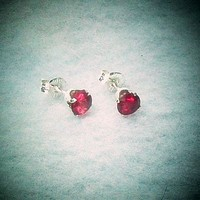 Genuine Red Ruby Jewelry Stud Earrings in .925 Sterling Silver