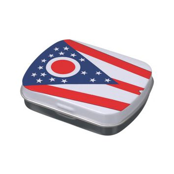 Patriotic candy tins with Flag of Ohio