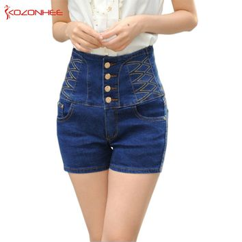 Stretch Women Shorts Whit High Waist Elasticity Bandage Corset waist Denim Shorts Sexy High Waist Summer Shorts Jean