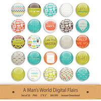 Digital Flair Button Scrapbooking Add On Clipart Scrapbook Elements Printable Buttons Hipster Graphics Clip Art Man Mustache Stickers Badges