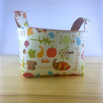 Small Fabric Storage Bin Basket ~ Happy Harvest by Riley Blake