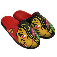 CHICAGO BLACKHAWKS OFFICIAL NHL SPLIT COLOR SLIDE MEN'S SLIPPERS