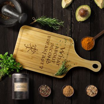 LOTR Second Breakfast Laser Etched Bamboo Cutting Board with Handle