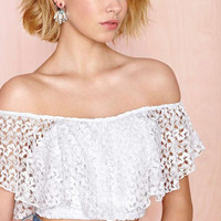 White Off Shoulder Crochet Lace Cropped Top