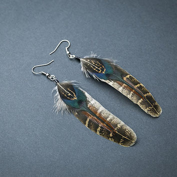 Tribal feather earrings, native american earring, native earrings, boho earring, brown tones, hippie earrings Indian earrings Tribal jewelry