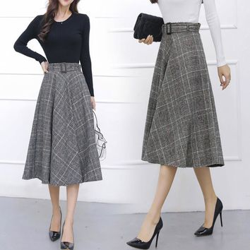 TingYiLi Retro Plaid Skirt Long Women Skirt Autumn Winter Maxi Skirt
