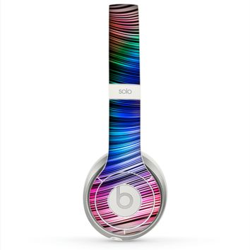 The Neon Rainbow Wavy Strips Skin for the Beats by Dre Solo 2 Headphones