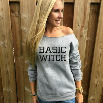 Basic Witch Funny Halloween sweater cozy womens cropped off the shoulder sweatshirt witch costume adult swag witch