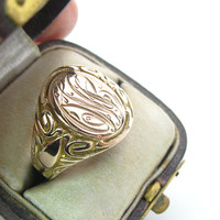 Ostby & Barton 10K Rose Gold Ring Art Nouveau Belle Epoque Engraved Oval Signet Initials CWB Antique 1910s American Jewelry Unisex SZ 10.25+