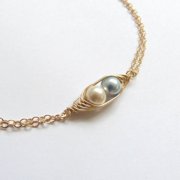 Gold Two Peas in a Pod Bracelet 2 to 4 Pearl Mothers Jewelry Swarovski Pearl 14k Gold Birthstone Jewelry Twins Jewelry Bridesmaid Gift