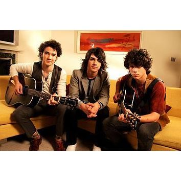 Jonas Brothers Couch poster Metal Sign Wall Art 8in x 12in