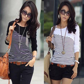 3 Colours Stripe Crew Neck Long Sleeve Tops T-Shirt Blouse Casual Wear Tee Shirt F_F = 1902771652