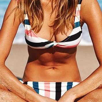Knot Front Striped Tie Side Bikini Set
