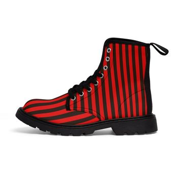 Red and black stripe women's Martin boots