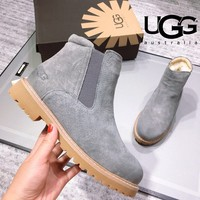 UGG Autumn Winter Popular Women Leather Wool Snow Boots Shoes Grey