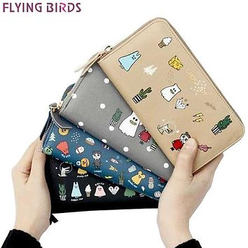 Flying birds women wallet leather purse dollar price high quality Cartoon Wizard prints card bag female pouch coin bag LM4385fb