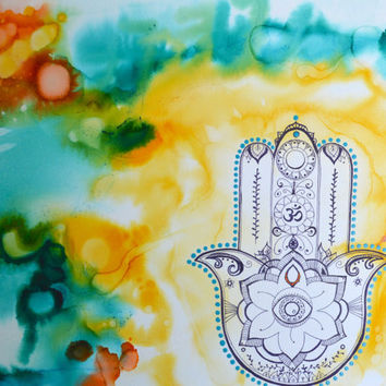 Hamsa protection, Original Alcohol Ink Painting on stretched canvas